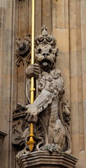 Lion. Facade detail. Houses of Parliament. London. UK.