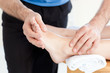 Close-up of a Woman having a foot massage