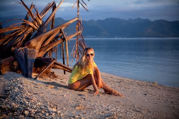 Blond on beach