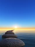 Fototapety rock and sunrise
