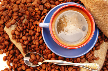 coffee beans cup with coffee and spoon