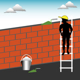 Bricklayer on a ladder poster