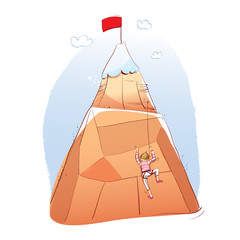 man climbing a mountain. Vector illustration