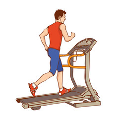 Man on treadmill. Vector illustration
