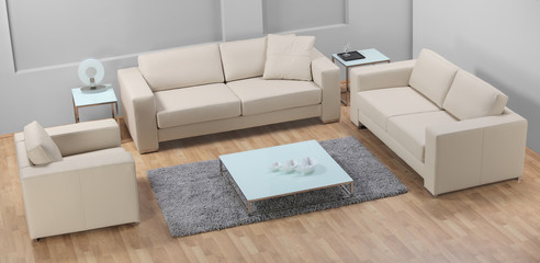 A modern minimalist living-room with white leather furniture