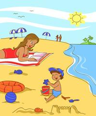 Mamma e bambino sulla spiaggia