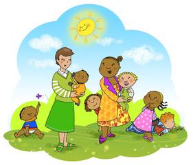 Bambini e insegnanti di diverse etnie