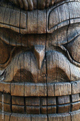 Detail of a Hawaiian Tiki Totem Pole