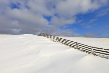 Fresh snow on a dyke in winter