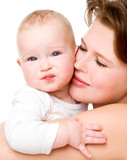 Young mummy and her kid on a white background poster
