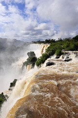 Iguazu waterfalls in Argentina in summer