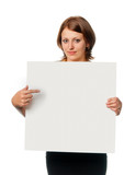 Girl shows blank board