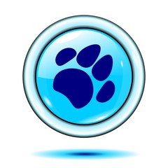 paw button light blue vector