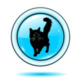cat button light blue vector