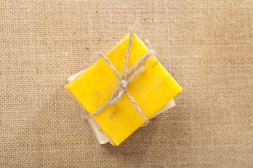 homemade soap bars with camomile flowers, large copy space