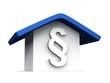 3D Haus mit Paragraph - Blau Weiß
