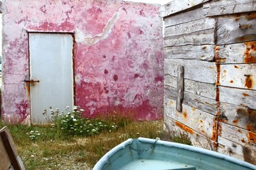 grunge red wall aged weathered wood boat
