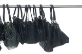 Black fashion handbags hanging