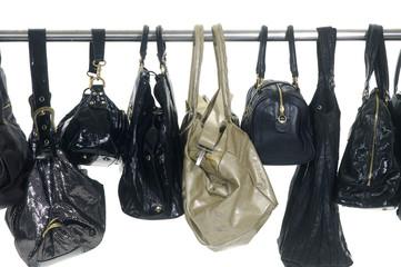 Fashion handbags hanging