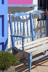 mediterranean blue bench detail Formentera