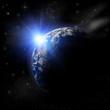 3D  Earth Planet in blue sun