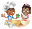 two children having fun in the kitchen