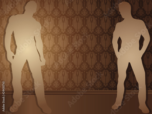 Sexy boys against damask background.