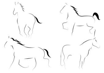 Coleccion de caballos estilizados