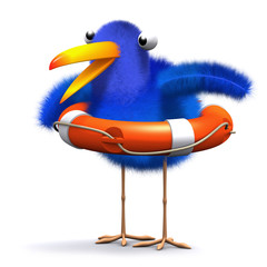 3d Blue bird wears a life ring