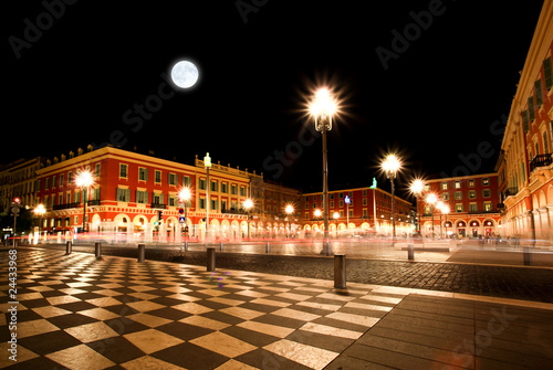 Deurstickers Volle maan The Plaza Massena Square at night in Nice