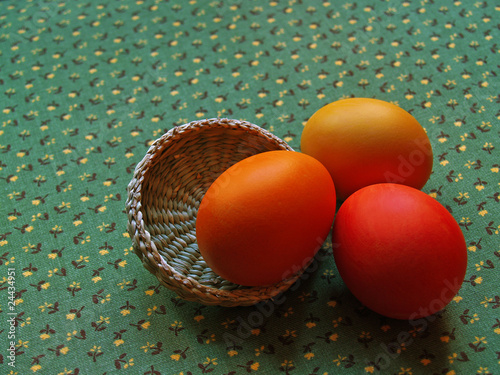 three eggs on glazed cotton