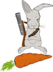 The malicious rabbit protects a carrot