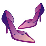 fully editable vector illustration of high heel pair of shoes