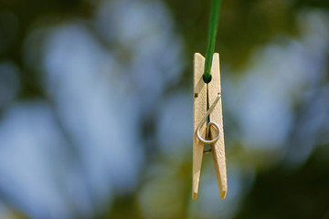 Clothespin on a wire