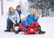 Leinwanddruck Bild - family-snow-fun 01