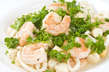 Seafood Medley Garnished with Parsley
