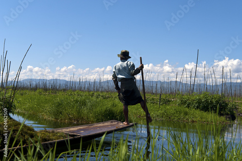 Local fishermen on the Inle lake in Burma, Myanmar.