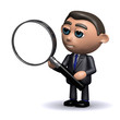 3d Businessman using magnifying glass