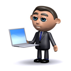 3d Businessman with laptop