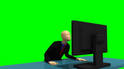 3d man sitting in front of a screen at a table