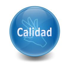 """Esfera brillante con texto """"CALIDAD"""""""