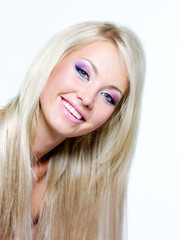 Beautiful face of blond smiling woman