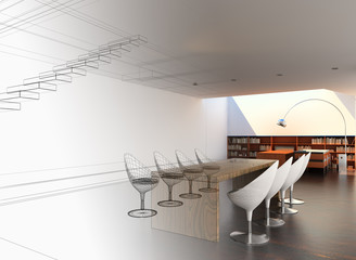 Sala riunioni business rendering wireframe 3d