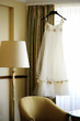 Beautiful wedding dress in a luxury room