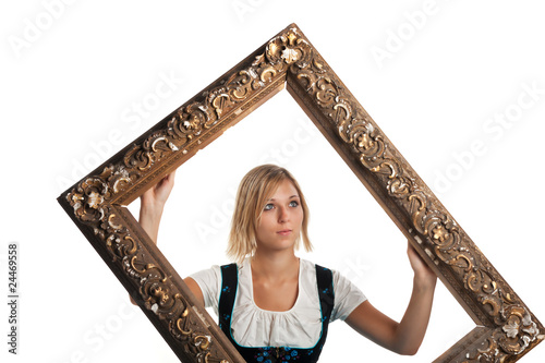 bavarian girl with a frame isolated