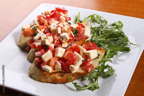 Bruschetta with tomatoes and cheese