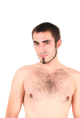 Portrait of young, bare-chested man, studio shot