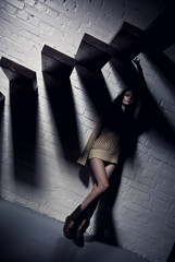 young pretty girl and stairs