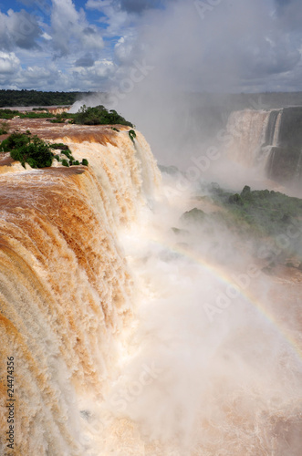 Iguazu falls in Brazil, top waterfall view landscape