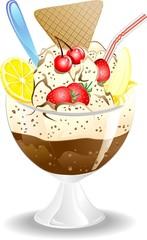 Coppa Gelato e Frutta-Ice Cream and Fruit-Vector